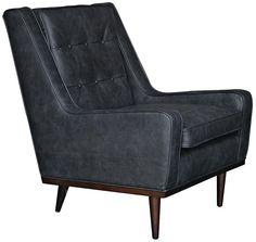 Kenneth Black Leather Club Chair -