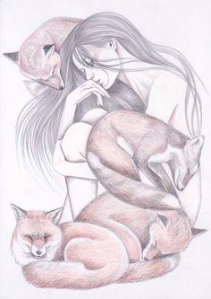 Рисунки Andrea Hrnjak девушки, Животные, сова, лиса, Волк, длиннопост