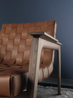 "rUE BRAIDED LEATHER + WALNUT lounge chair Materials:  Italian saddle leather + Walnut Dimensions:   31""W x 38.5D x 29.5""H Options:  *Italian leather - please inquire as to other fabric and style options."