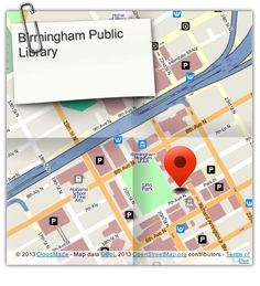 Visit us soon at the Birmingham Public Library!  (Central Branch) (courtesy of @Pinstamatic http://pinstamatic.com)