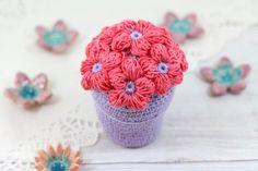 Purple Crocheted Flower Pot   Crochet Pot Flowers by etty2504