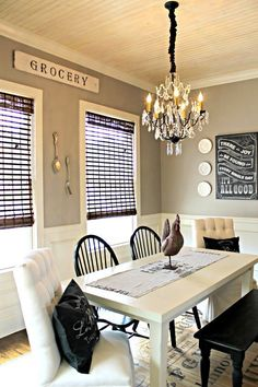 Wall Color = Perfect Greige by Sherwin Williams || Beautiful dining room decor by 2 Vintage Sisters.
