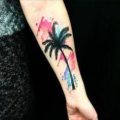 ideas palm tree tattoo back tat Sunset Tattoos, Nature Tattoos, Body Art Tattoos, New Tattoos, Hand Tattoos, Cool Tattoos, Amazing Tattoos, Tatoos, Trendy Tattoos