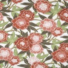 Peony Vine | Coral on green leaves (robertallendesign)