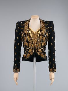 Elsa Schiaparelli evening ensemble 1939 embroidered jacket with matching blouse and bag made from wool, silk, rayon, metallic thread, glass and plastic for Saks Fifth Avenue.