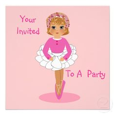 Cute Pink Ballerina Birthday Party Invitations great for little dancers or maybe a fancy dress party - easy to personalize template