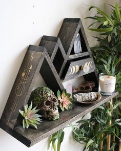 Mountain crystal altar shelf with moon phase pull out drawer - Modern Woodworking Ideas To Sell, Woodworking Projects, Cnc Woodworking, Mountain Shelf, Mountain Decor, Unique Wall Shelves, Crystal Altar, Crystal Decor, Crystal Wall
