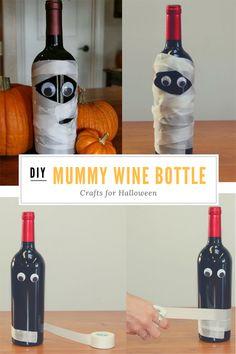DIY Mummy Wine Bottle Crafts for Halloween