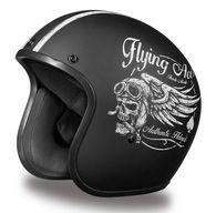 Daytona Cruiser Open Face D. Helmet in Flat Black with Flying Aces Artwork - No Visor Helmet Shop, Helmet Brands, Open Face Helmets, Cruiser Motorcycle Helmet, Bicycle Helmet, Retro Helmet, Flying Ace, Biker Gear, Motorcycle Helmets