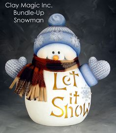 Resultado de imagen para clay magic inc catalog view Christmas Clay, Christmas Snowman, Christmas Projects, Easy Christmas Decorations, Snowman Decorations, Bisque Pottery, Ceramic Bisque, Clay Fairy House, Clay Fairies