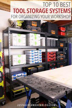 top 10 best tool storage systems for organizing your workshop - Garage Storage - Organizing Tutorial / Home Accessories Garage Workshop Organization, Garage Storage, Tool Storage, Storage Organization, Storage Spaces, Storage Systems, Storage Ideas, Organizing Tips, Smart Storage
