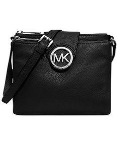 MICHAEL Michael Kors Fulton Large Crossbody - Handbags & Accessories - Macy's Black and Silver