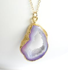 Druzy Necklace Gold Petite Lavender Druzy Agate by ShopGreyweather