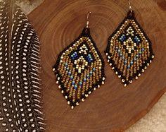 Sycamore..Beaded Fringe Earrings Native American by hoofandarrow