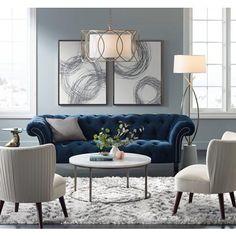 Interior Living Room Design Trends for 2019 - Interior Design Blue Couch Living Room, Formal Living Rooms, Living Room Interior, Home Living Room, Living Room Designs, Navy Blue And Grey Living Room, Dark Blue Couch, Blue Velvet Couch, Navy Blue Sofa