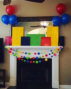 Bright & Colorful Lego Birthday Party Fireplace Decor from a Lego Themed Birthday Party via Kara's Party Ideas Lego Themed Party, Lego Birthday Party, 6th Birthday Parties, 4th Birthday, Lego Parties, Birthday Ideas, Lego Birthday Banner, Lego Friends Birthday, Office Birthday