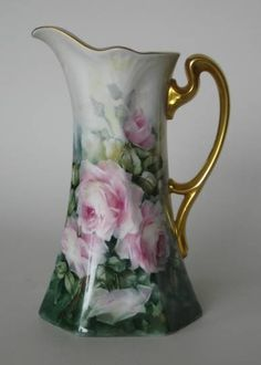 Mary Patusky hand-painted porcelain pitcher