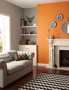 Living room paint colors - the 14 best paint trends to try Living Room Orange, Living Room Grey, Home Living Room, Living Room Decor, Orange Room Decor, Orange Rooms, Alcove Ideas Living Room, Feature Wall Living Room, Fireplace Feature Wall
