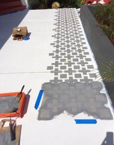 Concrete patio stencil painted floors 67 New Ideas Painted Cement Patio, Stencil Concrete, Painted Concrete Floors, Patio Paint, Painted Rug, Stained Concrete, Patio Diy, Backyard Patio, Pavers Patio