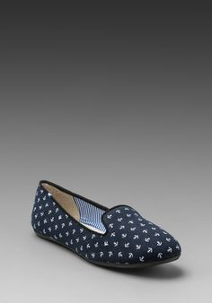 CHARLES PHILIP SHANGHAI Tropez Flat in Navy Anchors at Revolve Clothing