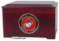 Urns Northwest  - Military Memory Chest, $289.00 Choice of medallion, for U.S. Army, Navy, Air Force, Marine Corps, or Fird Department. Made in Rosewood (as pictured) or solid Oak wood. (http://urnsnw.com/military-memory-chest/)
