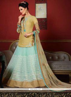 Glowing Viscose Turquoise A Line Lehenga Choli Model: YOLEN3043