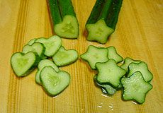 Shaped cucumbers, grown with molds.