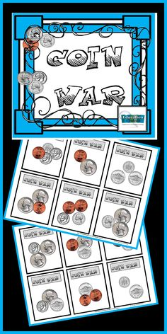 """FREE """"Coin war"""" card game.   It's played just like """"war"""" only instead of a regular deck of cards, you'll use these!"""
