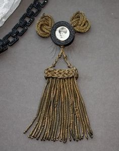 Antique French Mourning Pin Gold Bullion Passement