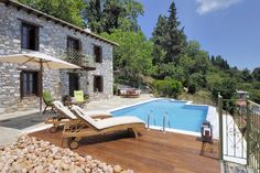 Pilio holiday villa for 4 for rent with pool near Milies, Pilio / Pelion - great self catering Greek villa in Greece Greece Holiday, Crete Greece, Outdoor Furniture, Outdoor Decor, Sun Lounger, Townhouse, Greek, Patio, Villas