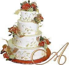 Alfabeto tarta tintineante con flores.