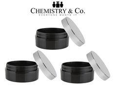 10 Black Plastic Jars with UPSCALE Shiny SILVER by ChemistryCo