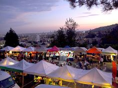 Yamashiro Farmers Market    Every Thursday evening April through September, the L.A. City Farm transforms the scenic hilltop that houses storied Japanese restaurant Yamashiro into a bustling night market with live jazz, fresh produce, canned confections, soul food, and panoramic views of the city.    Yamashiro Farmers Market, 1999 North Sycamore Avenue, at Fitch Drive, Hollywood (323-466-5125 or lacityfarm.org).