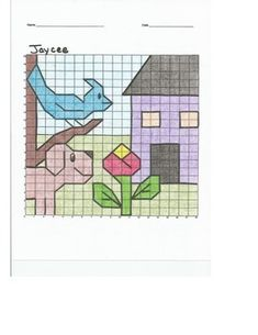 Very busy Quadrant 1 picture. Graph Paper Art, Pictures To Draw, Learn To Draw, Drawings, Kindergarten Crafts, Drawing Lessons, Blue Bird, Blackwork, Coloring Pages