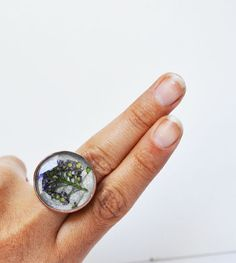 Real Flower Resin Ring Adjustable Size 5 to 9 by LOVEnLAVISH, $17.00