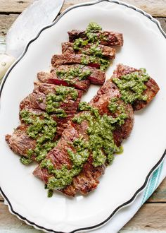Chimichurri is an Argentinean sauce most commonly served with red meat, but it is also delicious on grilled poultry or drizzled over poached shellfish