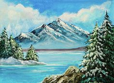 Bob and Nadine Johnston - Mountain Lake in Winter Original Painting ForSale
