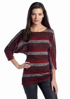 Sophie Max  Striped Knit Dolman Sleeve Top