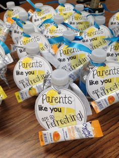 Ready or Not...Meet the Teacher! from Tunstall's Teaching Tidbits  cute water bottle gift for parents.