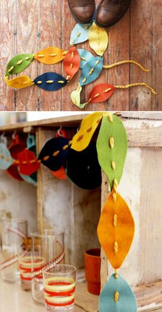 DIY garlands as gift toppers? YES! // Felt Fall Leaves Garland by Elsie Larson