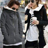 Wish | Fashion Women's Zip Up Tops Hoodie Coat Jacket Outerwear Sweatshirt
