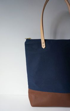 Zippered Navy Canvas Leather Tote by UmbrellaCollective on Etsy