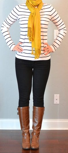 Stripes, black skinnies, brown boots with bright scarf. I need black skinnies! Mode Outfits, Fall Outfits, Casual Outfits, Fashion Outfits, Fall Dresses, Striped Boots, Striped Tee, Black Skinnies, Black Pants
