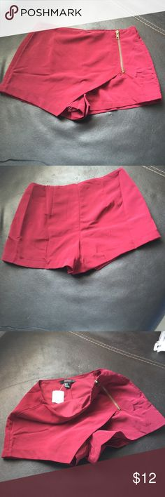 Shorts Forever 21 fancy burgundy shorts. Side zipper,100%poly, lining 100%. NWOT Forever 21 Shorts