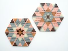 Coaster set hama perler beads by Handmadeblues