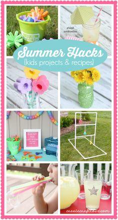 Summer Hacks and Boredom Busters for kids!  via createcraftlove.com