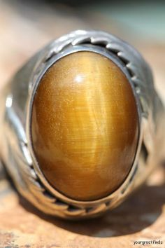 Vintage Signed Navajo Style Mens Sterling Silver Tigers Eye Signet Ring