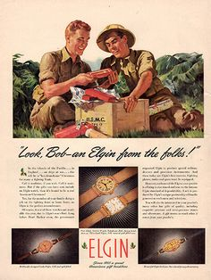 """1942 Elgin Jewelry Watches Original Print Ad -An original vintage 1942 advertisement, not a reproduction -Measures approximately 10"""" x 13"""" to 11"""" x 14"""" -Ready for matting and framing."""