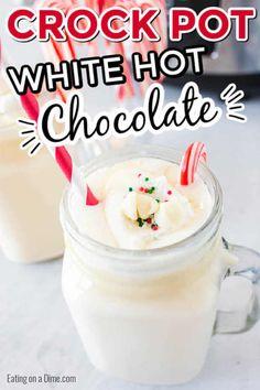 Slow Cooker Hot Chocolate Recipe, Homemade Hot Chocolate, Hot Chocolate Bars, Hot Chocolate Recipes, Crock Pot Hot Cocoa Recipe, Hot White Chocolate Recipe, Crockpot Drinks, Best Crockpot Recipes, Cooker Recipes
