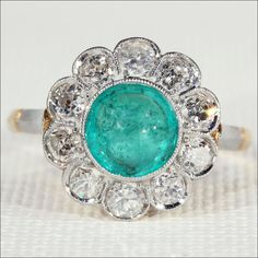 Fantastic Belle Époque Emerald and Diamond Cluster Ring, 18k Gold and from vsterling on Ruby Lane